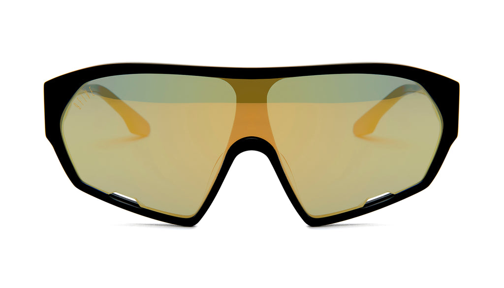9FIVE Shields Black - Gold Mirror Sunglasses