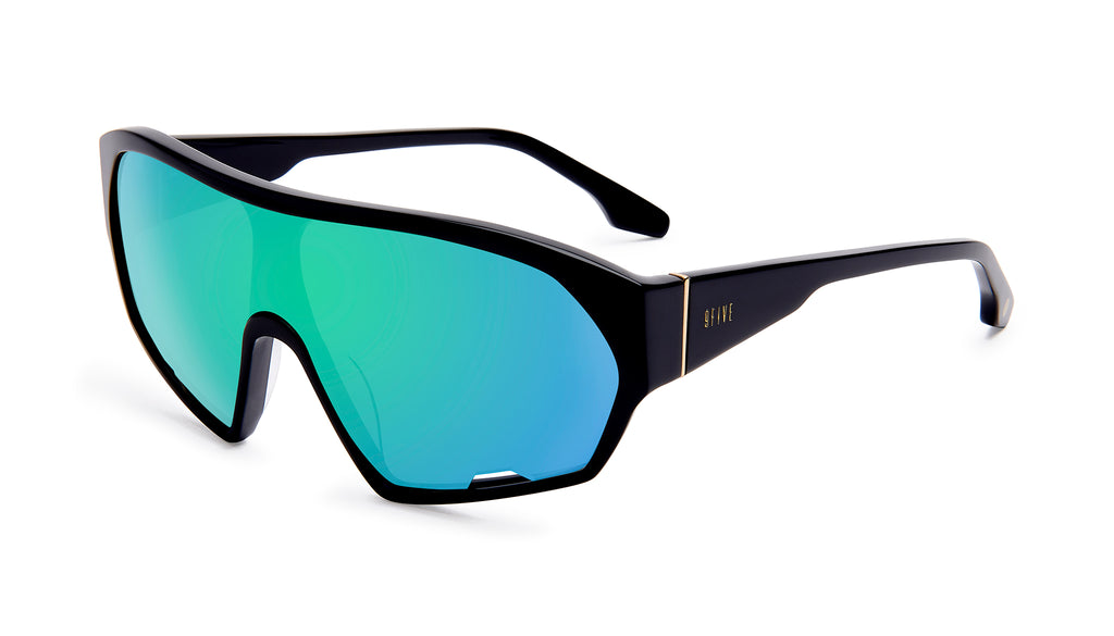 9FIVE Shields Black - Teal Mirror Sunglasses