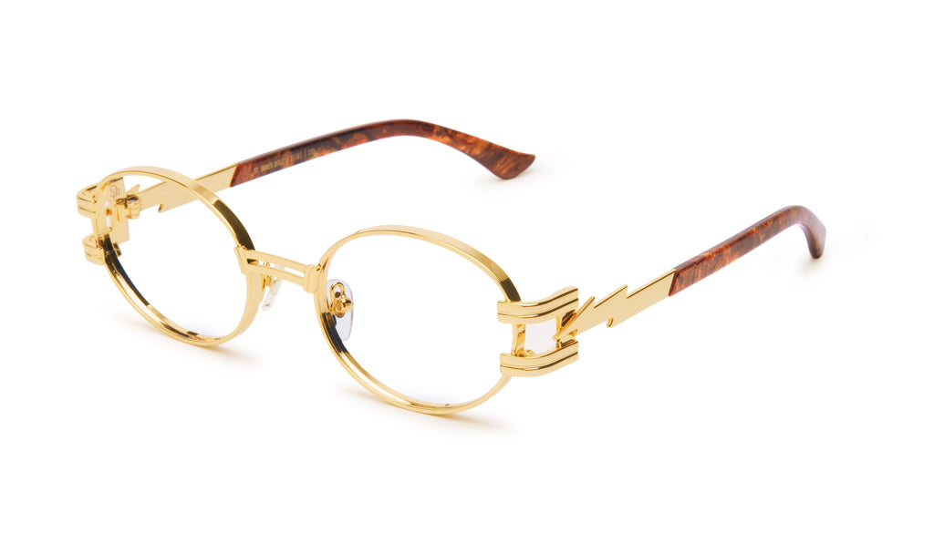 ⚡9FIVE St. James Bolt⚡ Gold Marble & 24k Gold Clear Lens Glasses