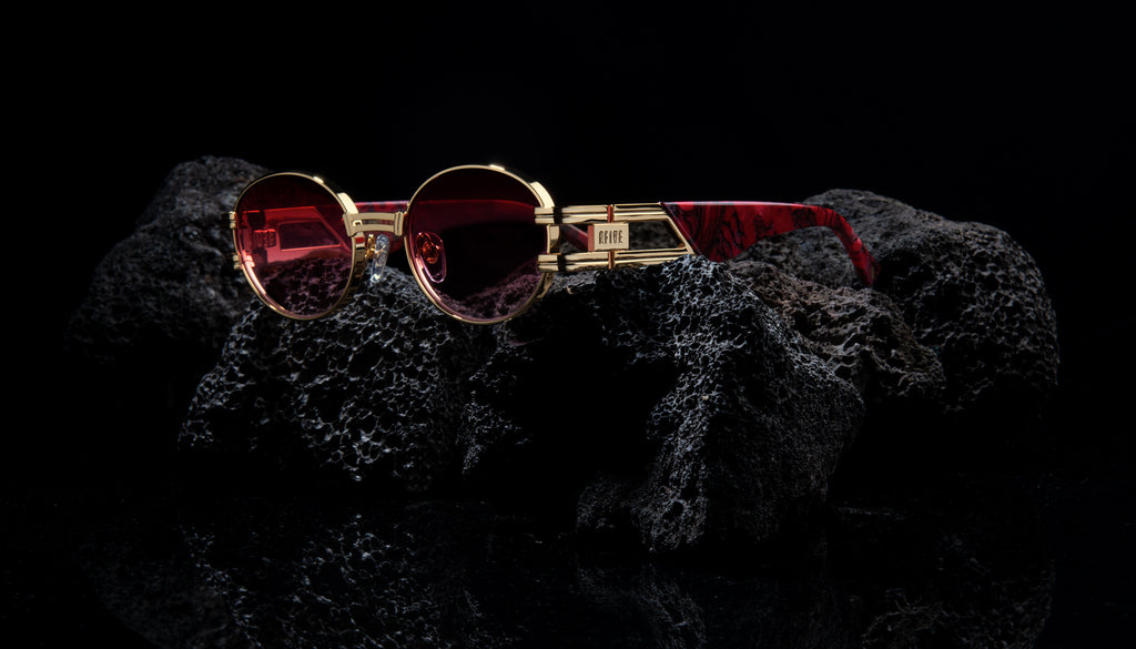 9FIVE St. James Red Marble & 24K Gold - Red Gradient Sunglasses