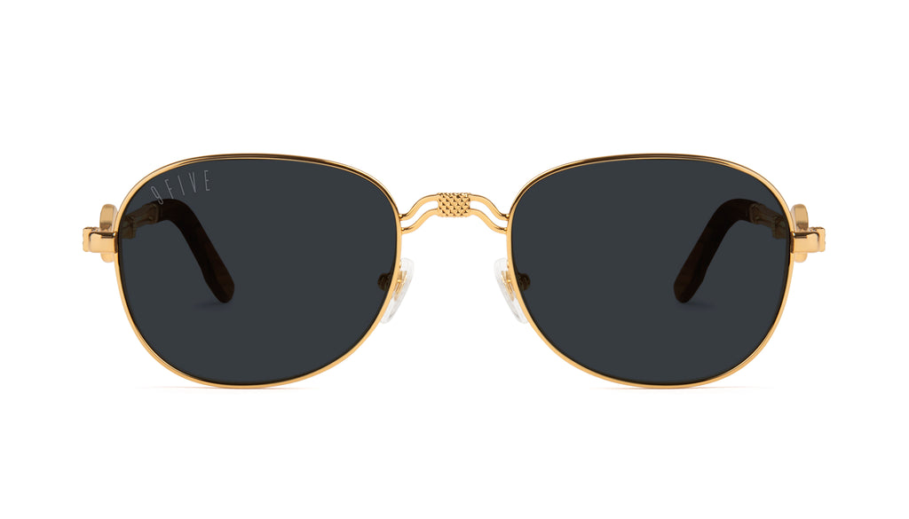 9FIVE St. Michael Wood & 24k Gold Sunglasses