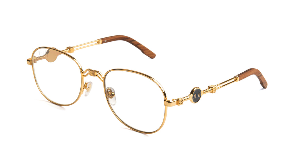 9FIVE St. Michael Wood & 24k Gold Clear Lens Glasses