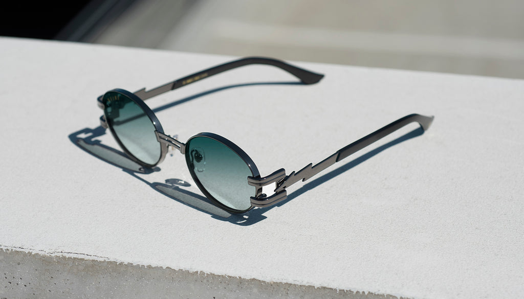 ⚡9FIVE St. James Bolt⚡Gunmetal - Teal Gradient Sunglasses