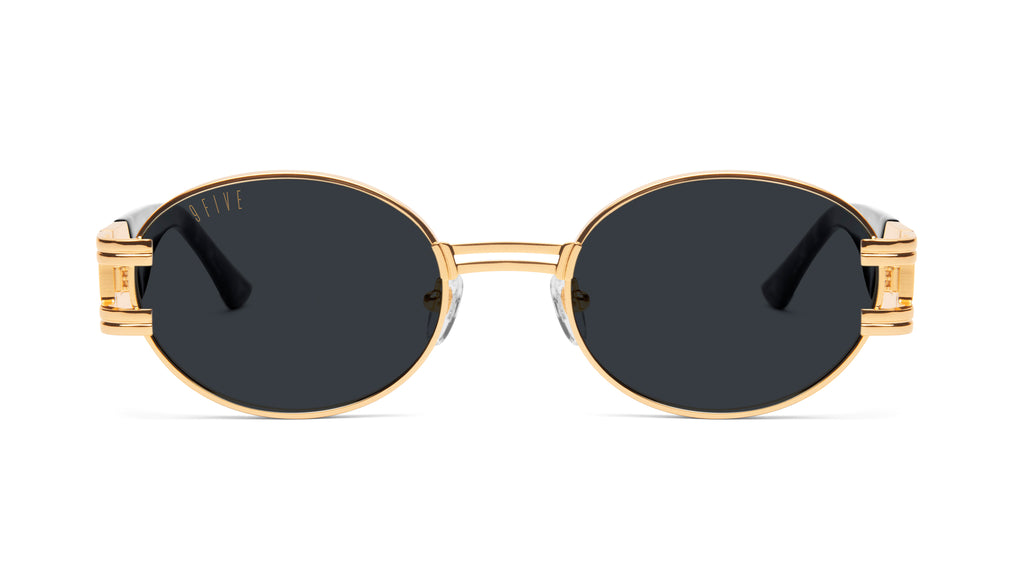 9FIVE St. James Black Marble & 24K Gold Sunglasses