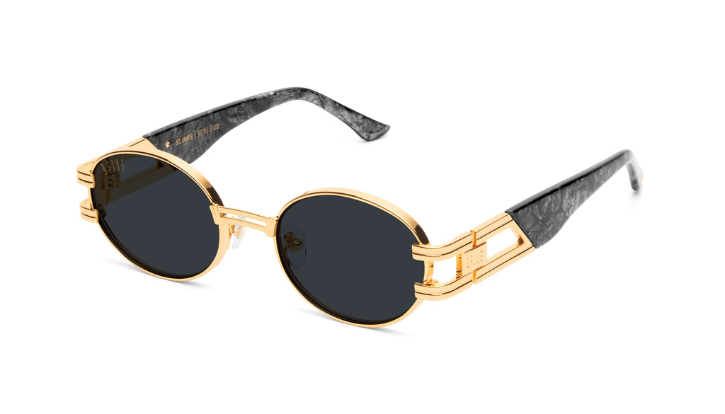 9FIVE St. James Black Marble & 24k Gold Sunglasses Rx