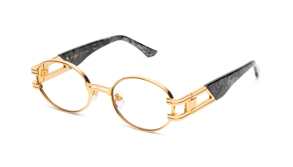 9FIVE St. James Black Marble & 24K Gold Clear Lens Glasses