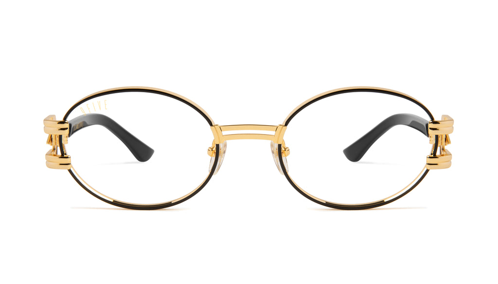 9FIVE St. James Bolt Black & 24k Gold Clear Lens Glasses Rx