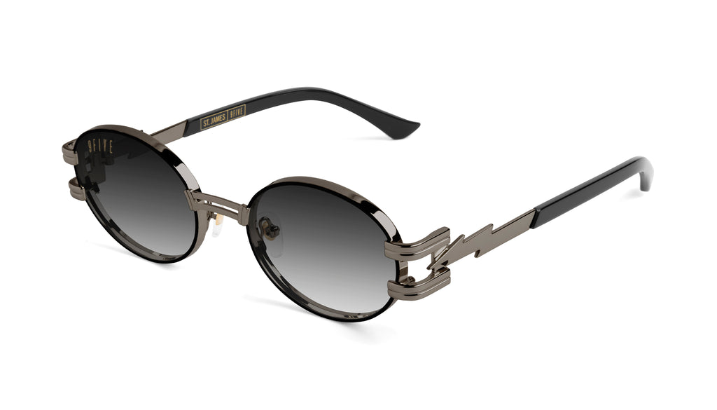 ⚡9FIVE St. James Bolt⚡Gun Metal - Gradient Sunglasses