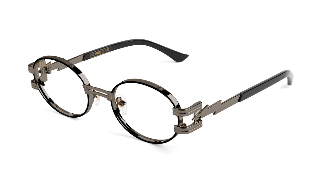 ⚡9FIVE St. James Bolt⚡Gun Metal Clear Lens Glasses Rx