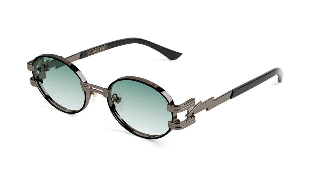 ⚡9FIVE St. James Bolt⚡Gun Metal - Teal Gradient Sunglasses