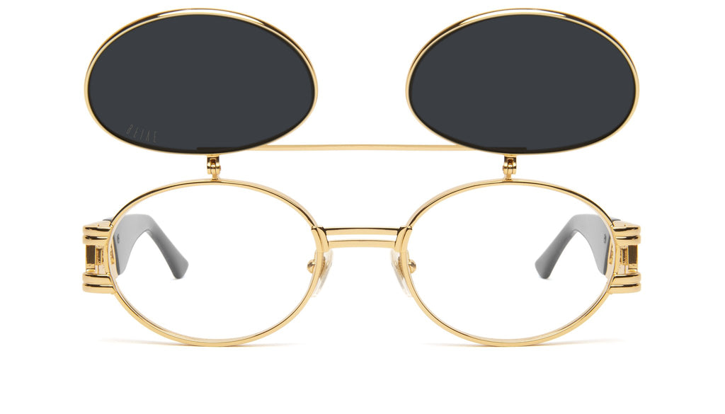 9FIVE St. James Black & 24k Gold Flip-Up Sunglasses
