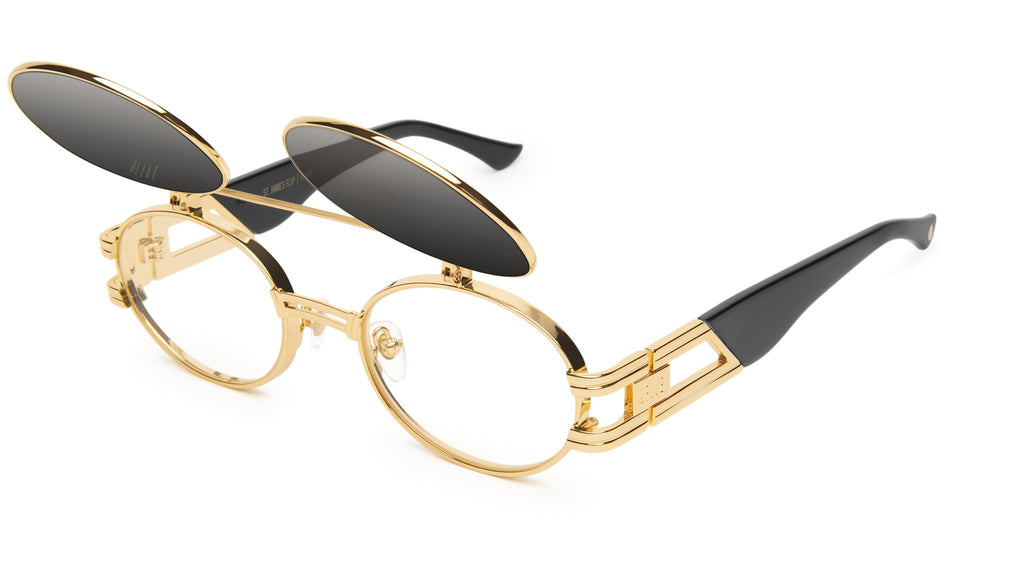 9FIVE St. James Black & 24k Gold Flip-Up - Gradient Sunglasses