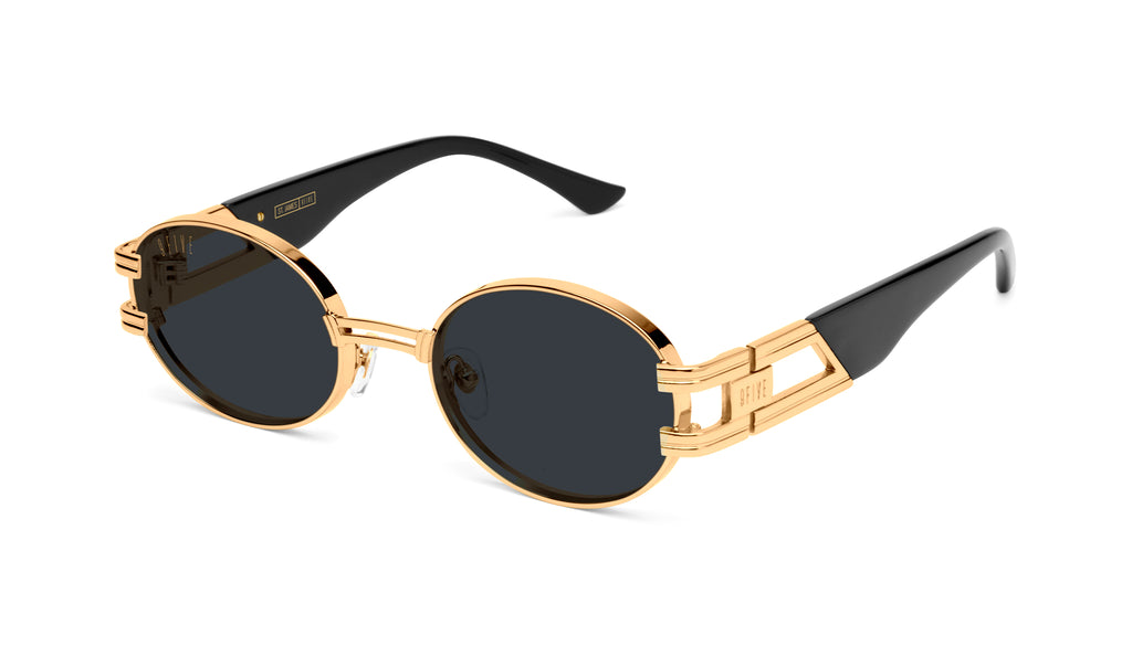 9FIVE St. James Black & 24k Gold Sunglasses Rx