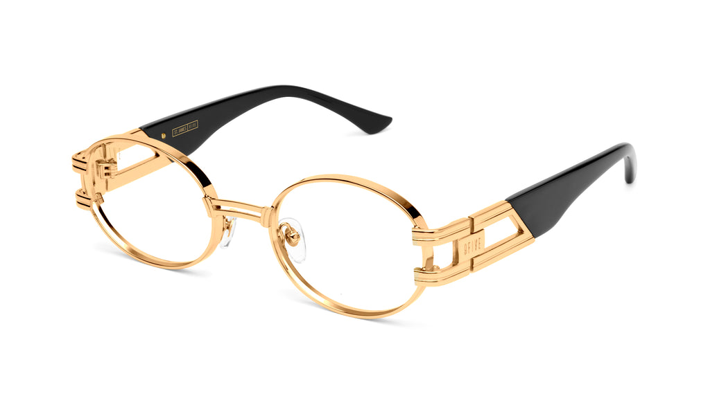 9FIVE St. James Black & 24k Gold Clear Lens Glasses