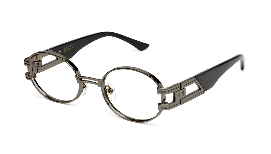 9FIVE St. James Gun Metal Clear Lens Glasses