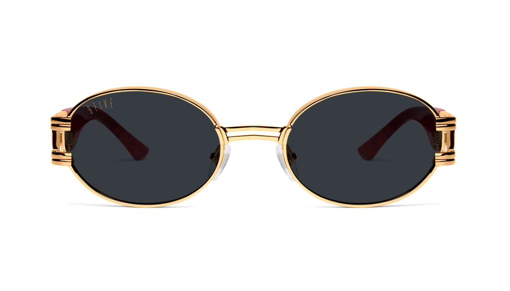 9FIVE St. James Red Marble & 24K Gold Sunglasses