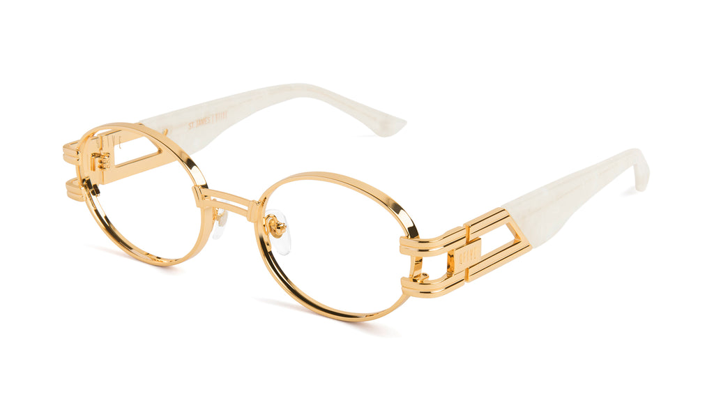 9FIVE St. James Marble Croc & 24k Gold Clear Lens Glasses