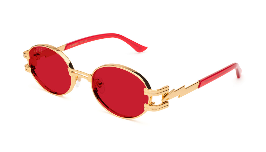 ⚡9FIVE St. James Bolt⚡ Red Transparent & 24k Gold - Red Sunglasses
