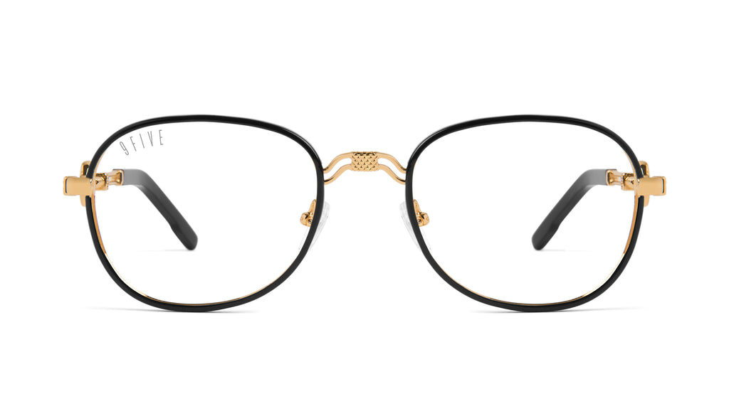 9FIVE St. Michael Black & 24k Gold Clear Lens Glasses