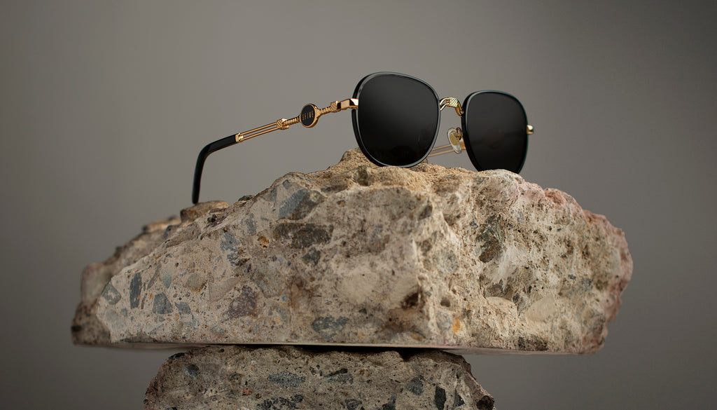9FIVE St. Michael Black and 24k Gold Sunglasses