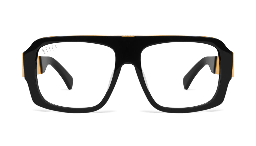 9FIVE Tips LX Black & 24K Gold Clear Lens Glasses
