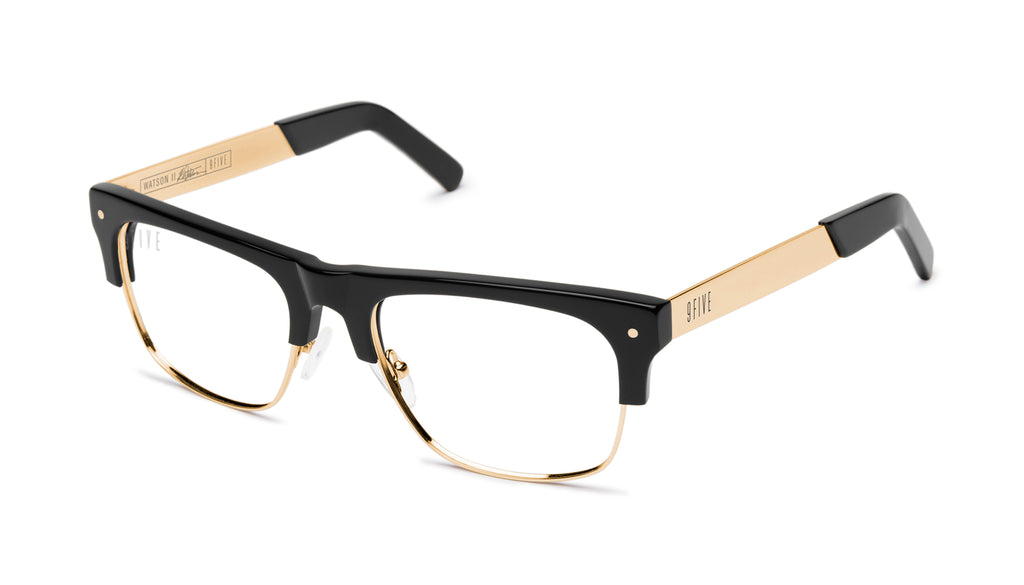 9FIVE Watson 2 Black & 24K Gold Clear Lens Glasses Rx