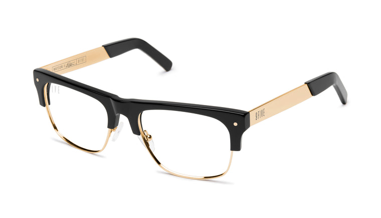 9FIVE Watson 2 Black & 24K Gold Clear Lens Glasses