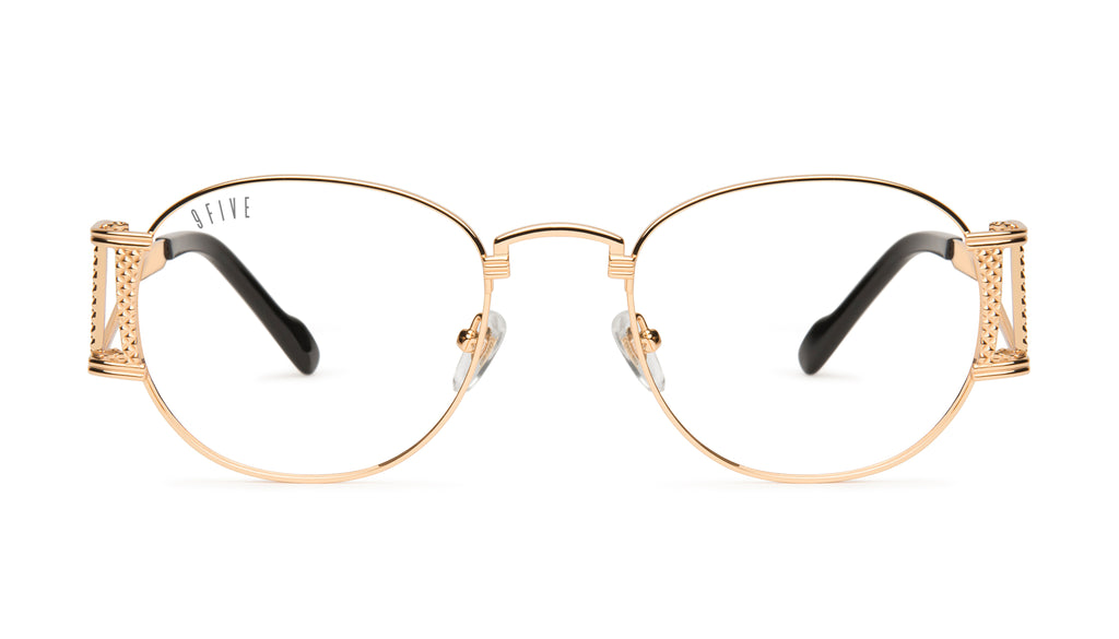 9FIVE Legacy Black & 24k Gold Clear Lens Glasses Rx