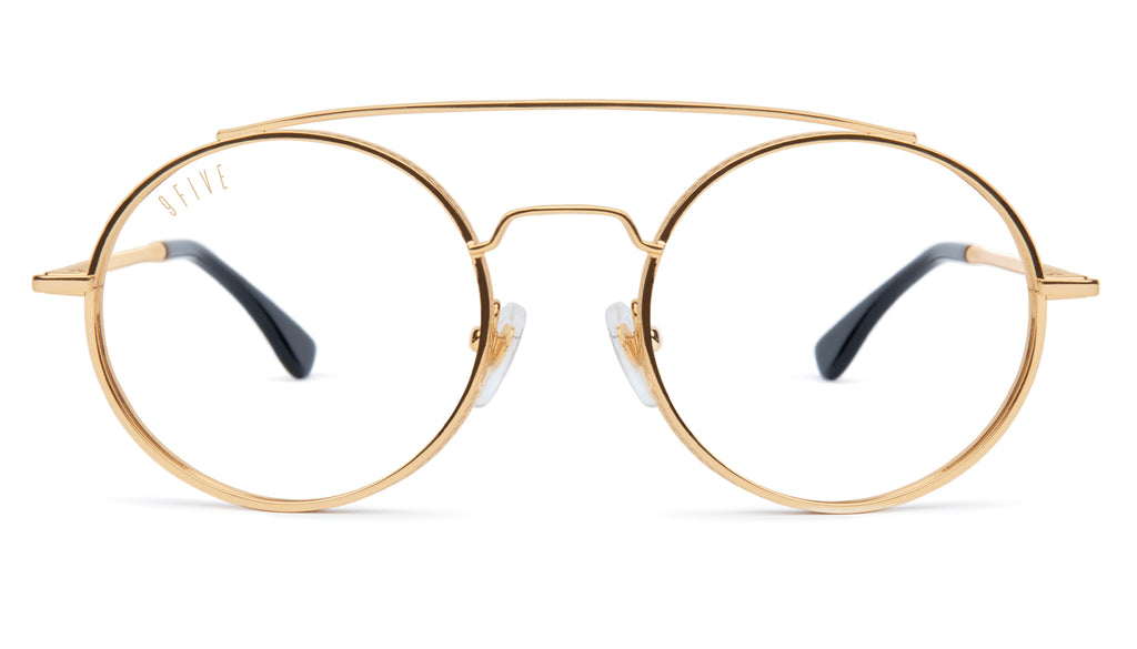 9FIVE 50-50 24K Gold XL Clear Lens Glasses
