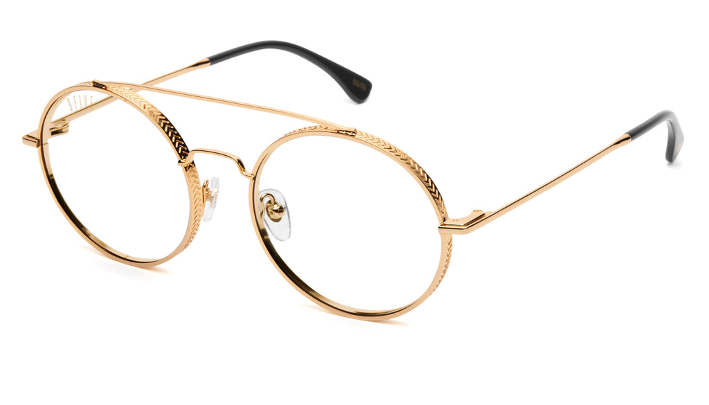 9FIVE 50-50 24K Gold XL Clear Lens Glasses Rx