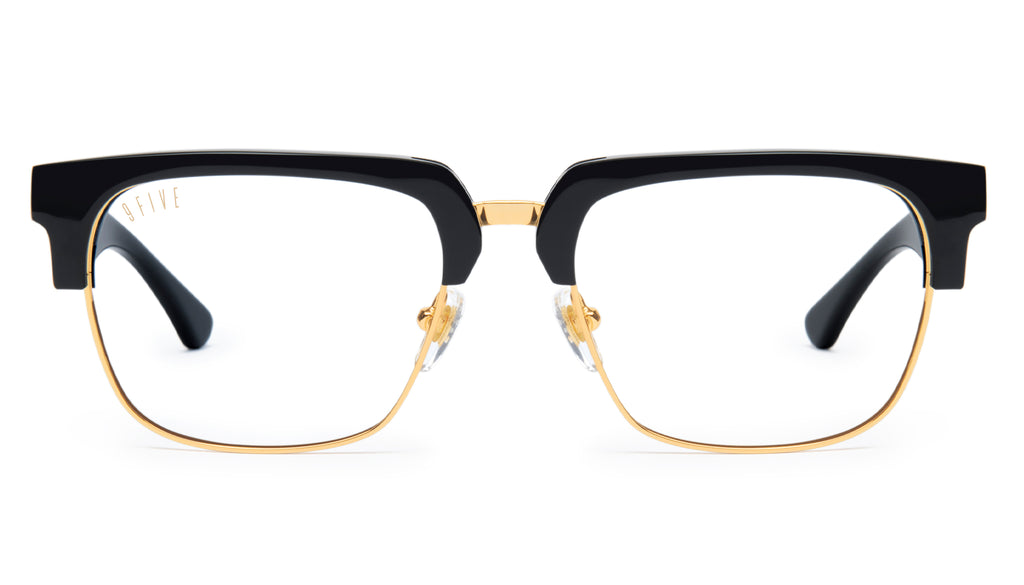 9FIVE Belmont Black and 24K Gold XL Clear Lens Glasses Rx