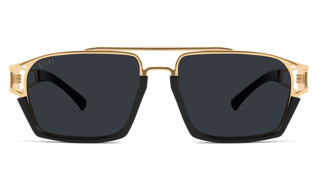 9FIVE Kingpin Black & 24k Gold XL Sunglasses