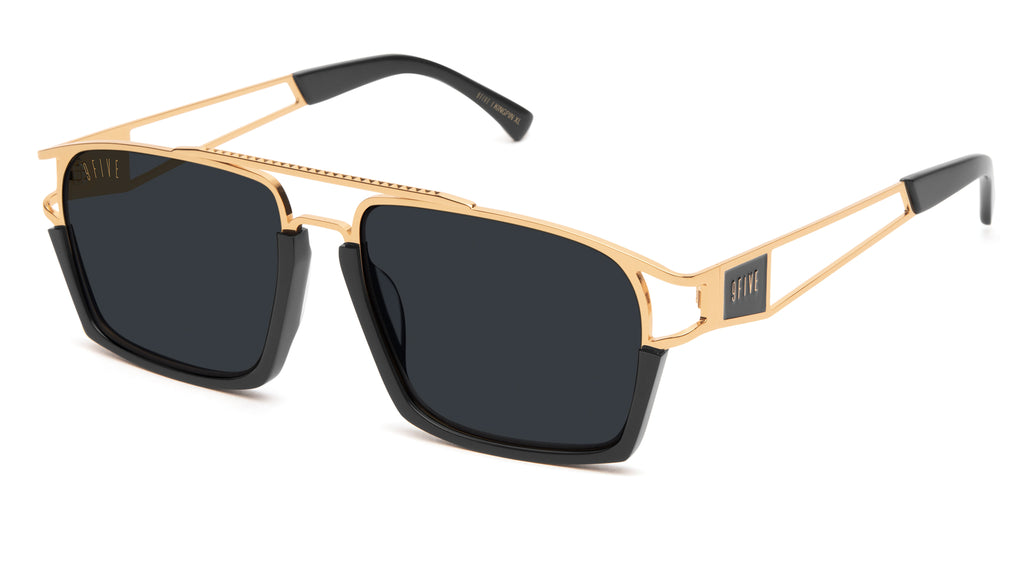 9FIVE Kingpin Black & 24k Gold XL Sunglasses Rx