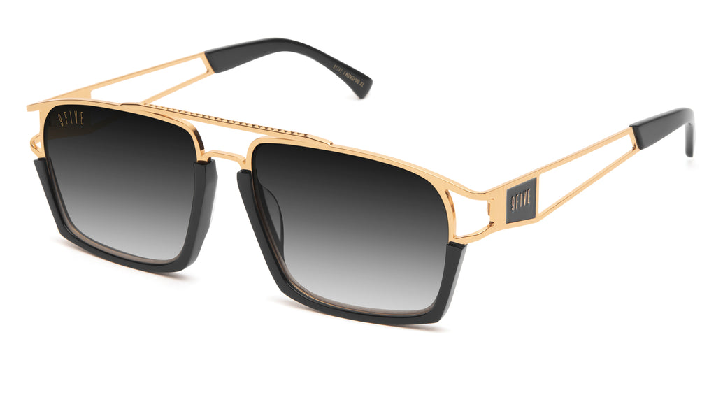 9FIVE Kingpin Black & 24k Gold XL - Gradient Sunglasses