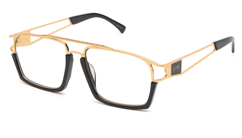 9FIVE Kingpin Black & 24k Gold XL Clear Lens Glasses