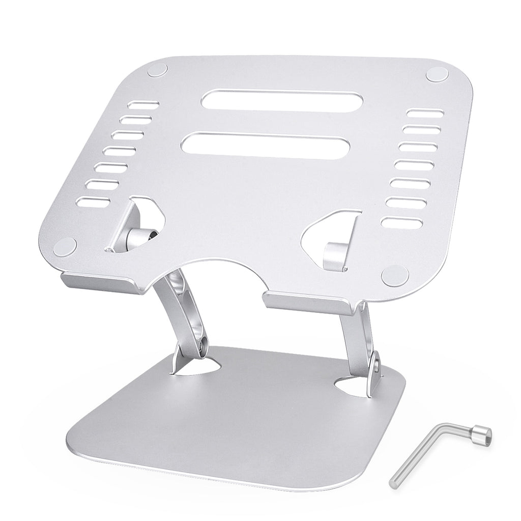 "Laptop Stand, Tendak Portable Computer Stand, Ergonomic Laptop Stand Aluminum Laptop Mount Foldable Laptop Riser Notebook Holder Stand Compatible for MacBook Air Pro, Dell XPS, Lenovo More 10-17.3"" Laptops-Silver"
