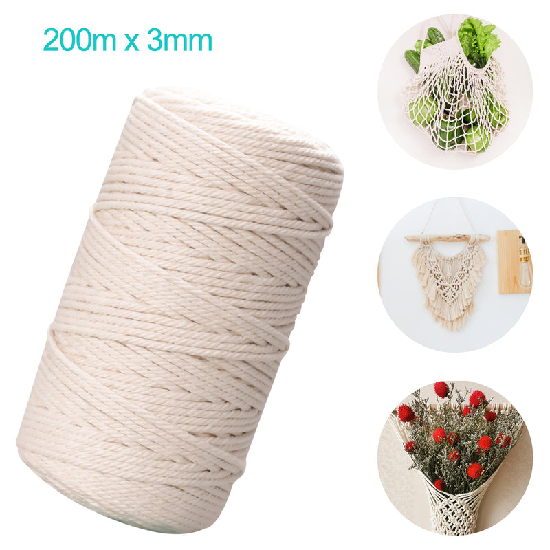 3mm x 200m Cotton Macrame Cord, Handmade Natural Cotton, Cotton Macrame Rope, Cord DIY Craft for Making Wall Hanging Plant Hanger, Crafts, Knitting, Gifts