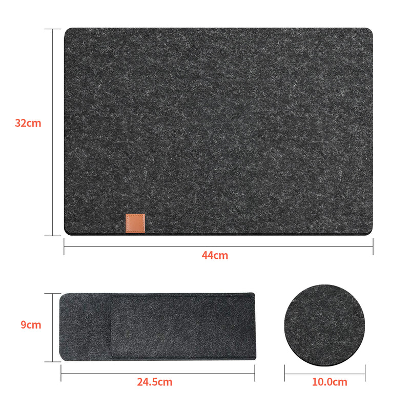 Tendak Felt Placemats Placemat,with 6 Placemats Wipeable 44x32cm,6 Coasters and 6 Cutlery Bags,Heat-Resistant and Washable,Placemat Set made of Anthracite,Suitable for Dining Table (Dark Gray, 18 Pcs)
