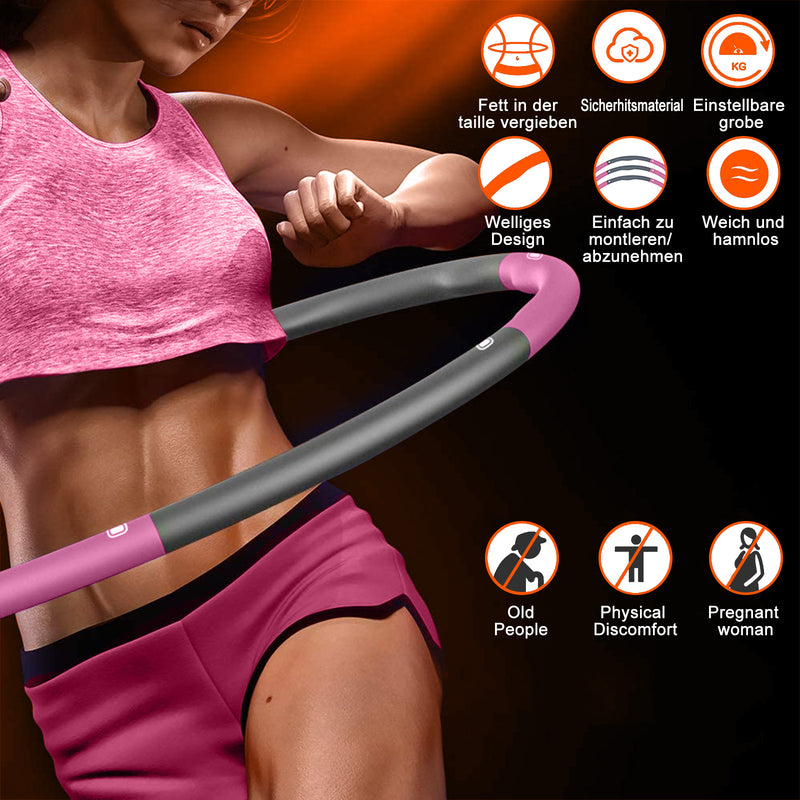 Hula Hoops for Adults Weight Loss, Weighted Hula Hoop for Exercise and Fitness, 8 Sections Adjustable Weights, Weighted Hoola Hoop for Adults and Home Workout