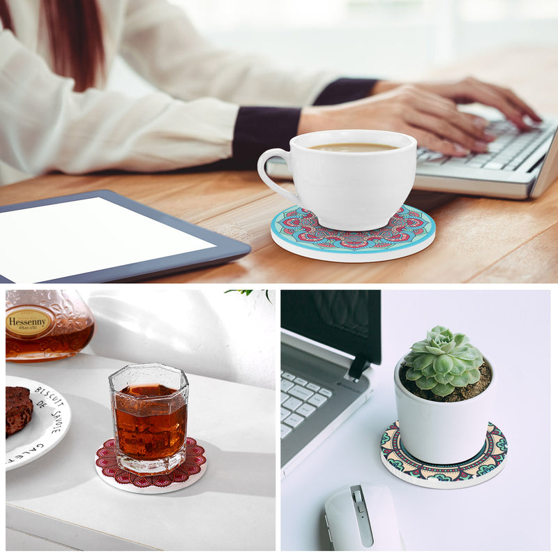 Coasters Set of 6 - Tendak Drink Round Ceramic Coasters with Holder, Non-Slip & Scratch-Resistant Cork Base Cup Mat for Home Kitchen Office