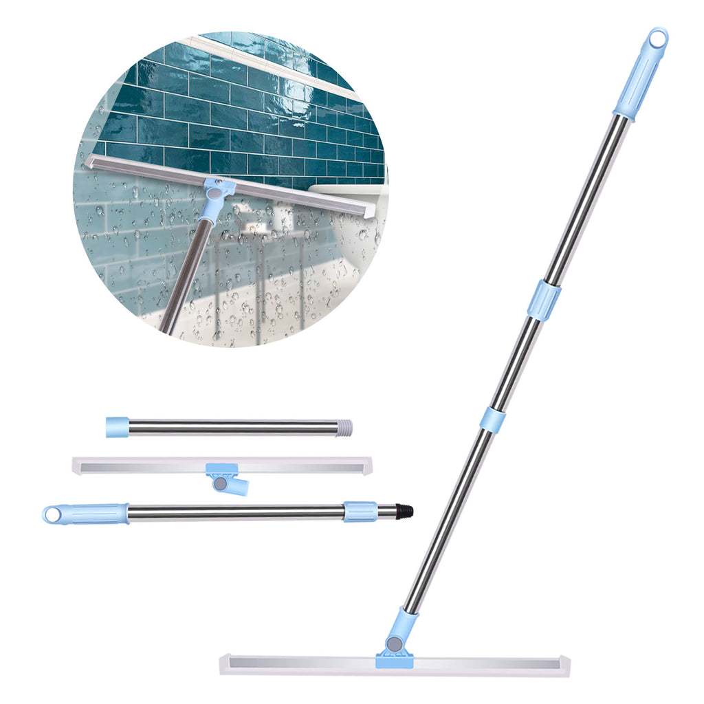 Wet Room Floor Squeegee, Adjustable Water Squeegee 50cm Silicone Blade with Long Handle Heavy Duty Shower Mop Perfect for Floors, Windows, Garage Drying (130cm)
