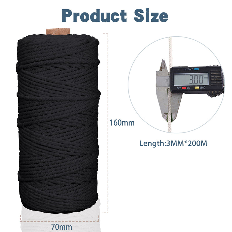 Macrame Cord 3MM ×200M, 4-Strand Cotton String Twisted, for Handmade Plant Hanger, Wall Hanging, DIY Crafts, Knitting, Decorative Projects Cotton String(Black)