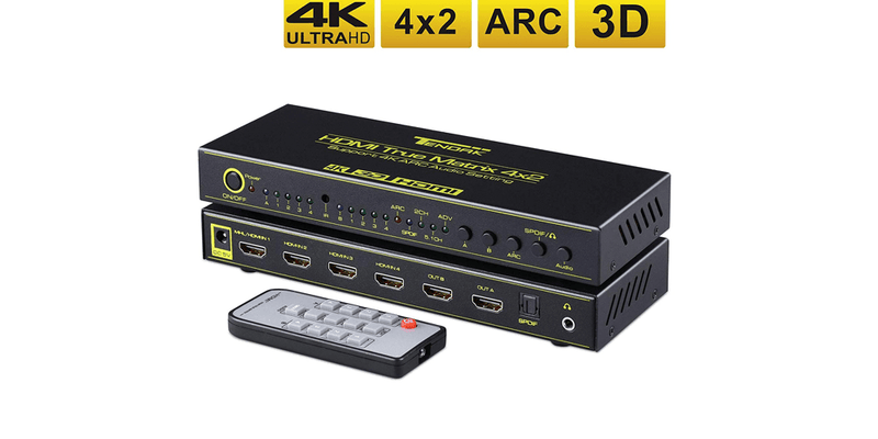 4K HDMI Matrix 4x2 HDMI Switch Splitter Adapter | Tendak
