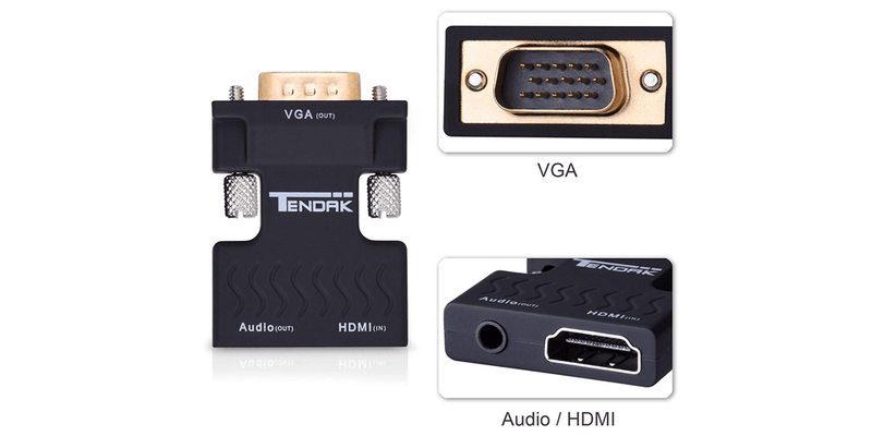 HDMI to VGA Adapter Converter Gold-Plated for PC, Laptop, DVD, Desktop | Tendak
