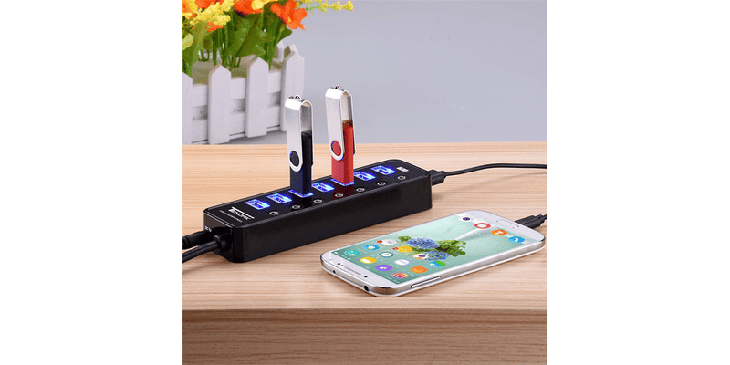 7-Port USB Hub with ON/OFF Switch | Tendak