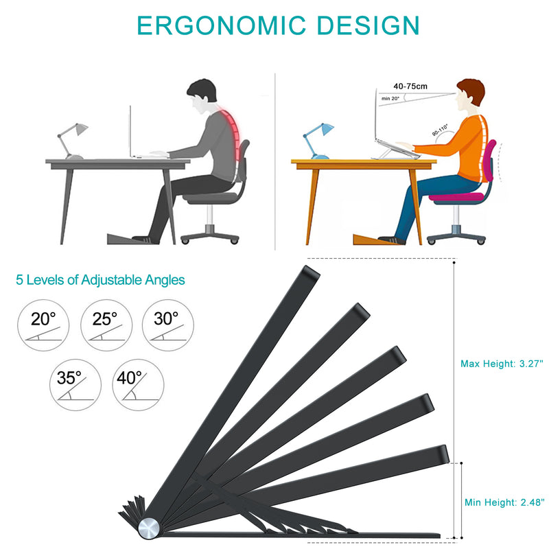 "Portable Laptop Stand Ergonomic Foldable Computer Stand for MacBook Air Pro, Dell XPS, HP, Lenovo More 10-17.3"" Laptops"