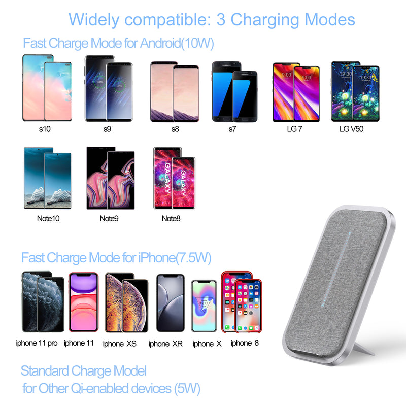 Fast Automatic Location Wireless Charger Phone Stand (10W Max) for iPhone 11, 11 Pro, 11 Pro Max, Xs Max, XR, XS, X, 8, 8Plus, 10W for Galaxy S10 S9 S8, Note 10 Note 9 Note 8
