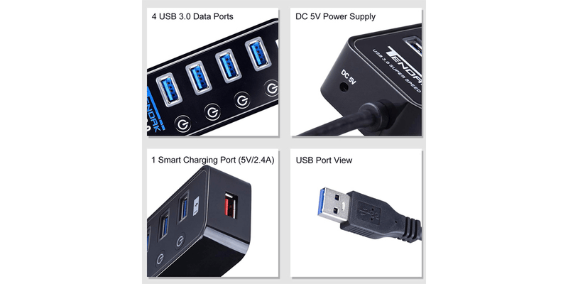 4 Ports USB 3.0 HUB with Powered | Tendak