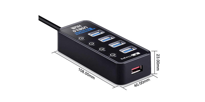 4-Port USB 3.0 Hub with Individual Power Switches | Tendak