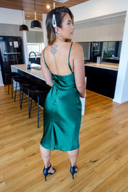 Into The Night Slip Dress in Jade